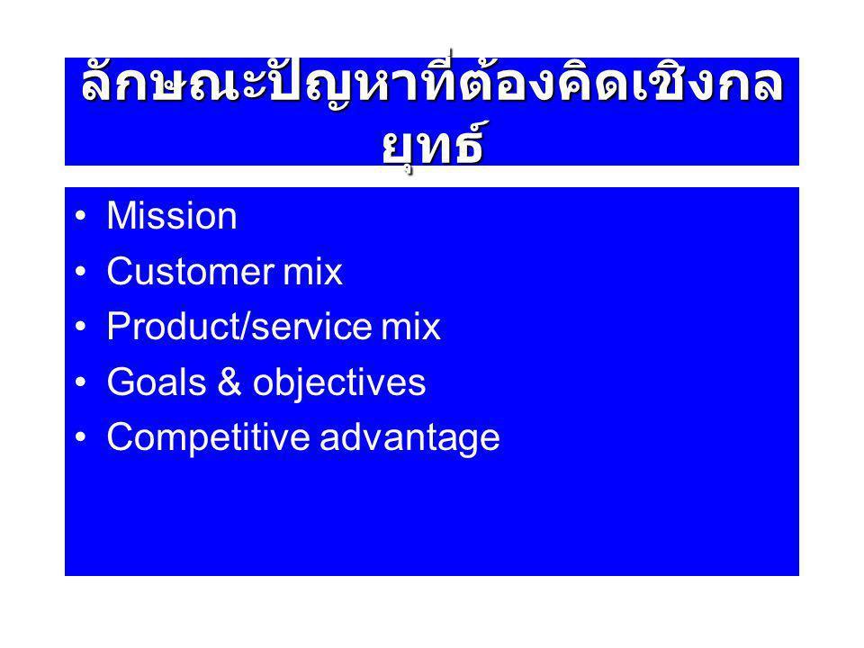 ลักษณะปัญหาที่ต้องคิดเชิงกล ยุทธ์ Mission Customer mix Product/service mix Goals & objectives Competitive advantage