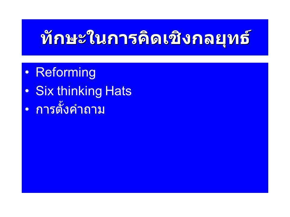 ทักษะในการคิดเชิงกลยุทธ์ Reforming Six thinking Hats การตั้งคำถาม