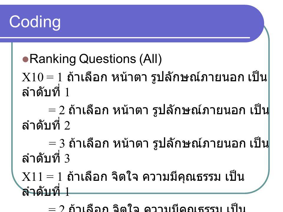 Coding Ranking Questions (All) X10 = 1 ถ้าเลือก หน้าตา รูปลักษณ์ภายนอก เป็น ลำดับที่ 1 = 2 ถ้าเลือก หน้าตา รูปลักษณ์ภายนอก เป็น ลำดับที่ 2 = 3 ถ้าเลือก หน้าตา รูปลักษณ์ภายนอก เป็น ลำดับที่ 3 X11 = 1 ถ้าเลือก จิตใจ ความมีคุณธรรม เป็น ลำดับที่ 1 = 2 ถ้าเลือก จิตใจ ความมีคุณธรรม เป็น ลำดับที่ 2 = 3 ถ้าเลือก จิตใจ ความมีคุณธรรม เป็น ลำดับที่ 3