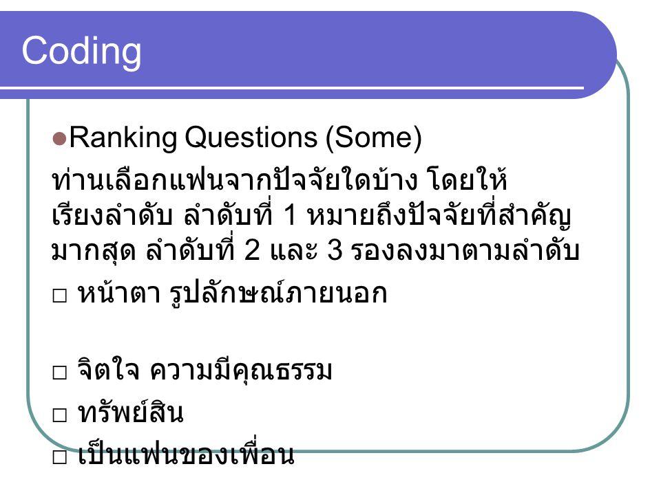 Coding Ranking Questions (Some) ท่านเลือกแฟนจากปัจจัยใดบ้าง โดยให้ เรียงลำดับ ลำดับที่ 1 หมายถึงปัจจัยที่สำคัญ มากสุด ลำดับที่ 2 และ 3 รองลงมาตามลำดับ □ หน้าตา รูปลักษณ์ภายนอก □ จิตใจ ความมีคุณธรรม □ ทรัพย์สิน □ เป็นแฟนของเพื่อน