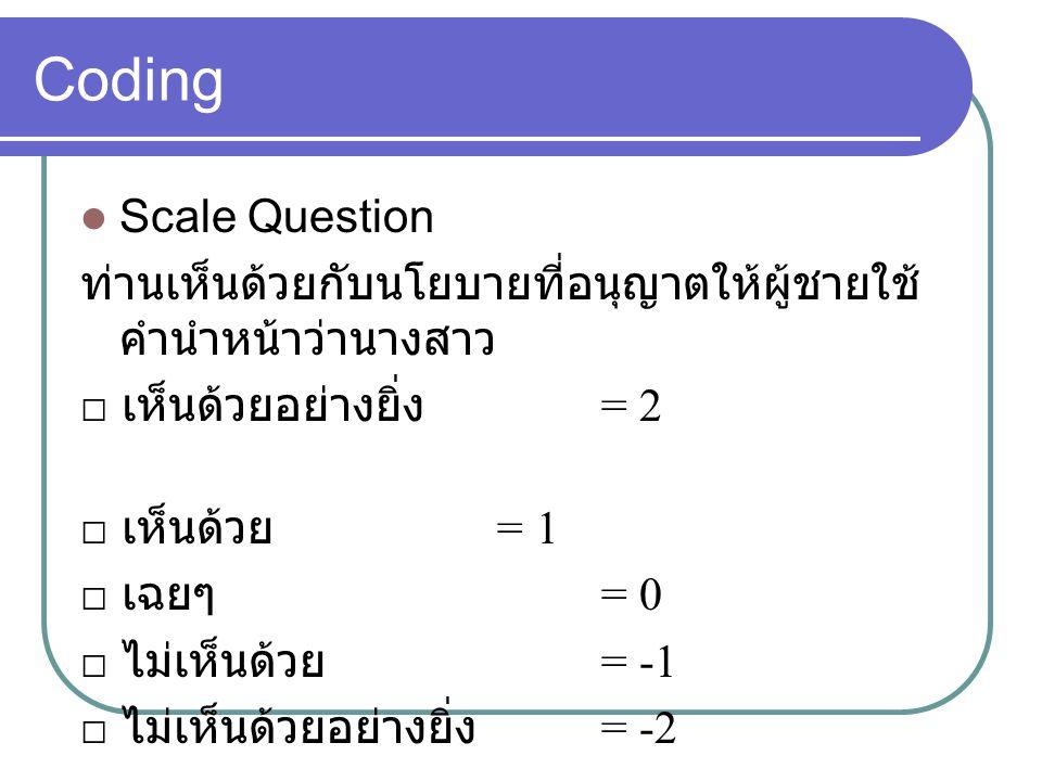 Coding Scale Question ท่านเห็นด้วยกับนโยบายที่อนุญาตให้ผู้ชายใช้ คำนำหน้าว่านางสาว □ เห็นด้วยอย่างยิ่ง = 2 □ เห็นด้วย = 1 □ เฉยๆ = 0 □ ไม่เห็นด้วย = -1 □ ไม่เห็นด้วยอย่างยิ่ง = -2