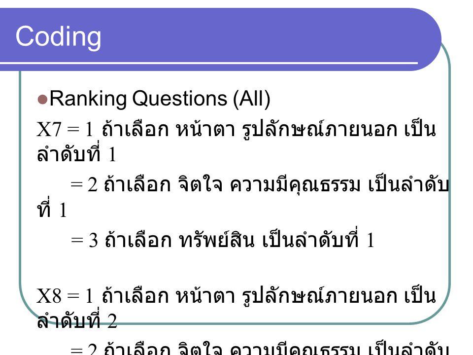 Coding Ranking Questions (All) X7 = 1 ถ้าเลือก หน้าตา รูปลักษณ์ภายนอก เป็น ลำดับที่ 1 = 2 ถ้าเลือก จิตใจ ความมีคุณธรรม เป็นลำดับ ที่ 1 = 3 ถ้าเลือก ทรัพย์สิน เป็นลำดับที่ 1 X8 = 1 ถ้าเลือก หน้าตา รูปลักษณ์ภายนอก เป็น ลำดับที่ 2 = 2 ถ้าเลือก จิตใจ ความมีคุณธรรม เป็นลำดับ ที่ 2 = 3 ถ้าเลือก ทรัพย์สิน เป็นลำดับที่ 2