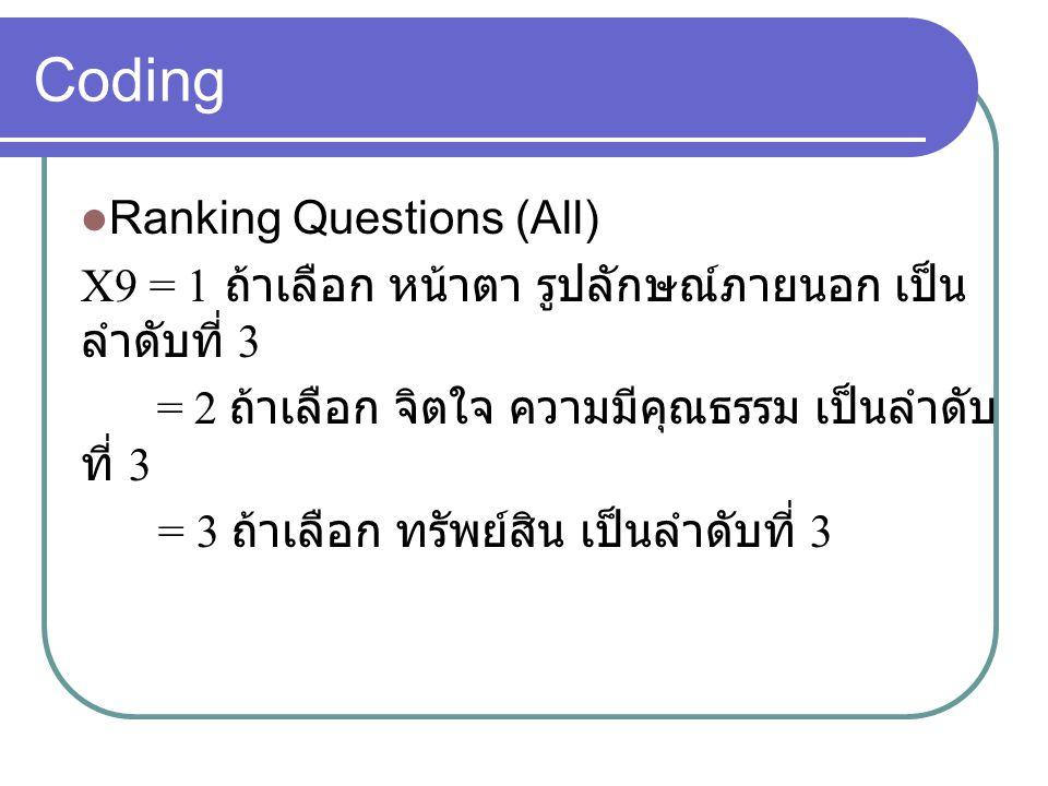 Coding Ranking Questions (All) X9 = 1 ถ้าเลือก หน้าตา รูปลักษณ์ภายนอก เป็น ลำดับที่ 3 = 2 ถ้าเลือก จิตใจ ความมีคุณธรรม เป็นลำดับ ที่ 3 = 3 ถ้าเลือก ทรัพย์สิน เป็นลำดับที่ 3