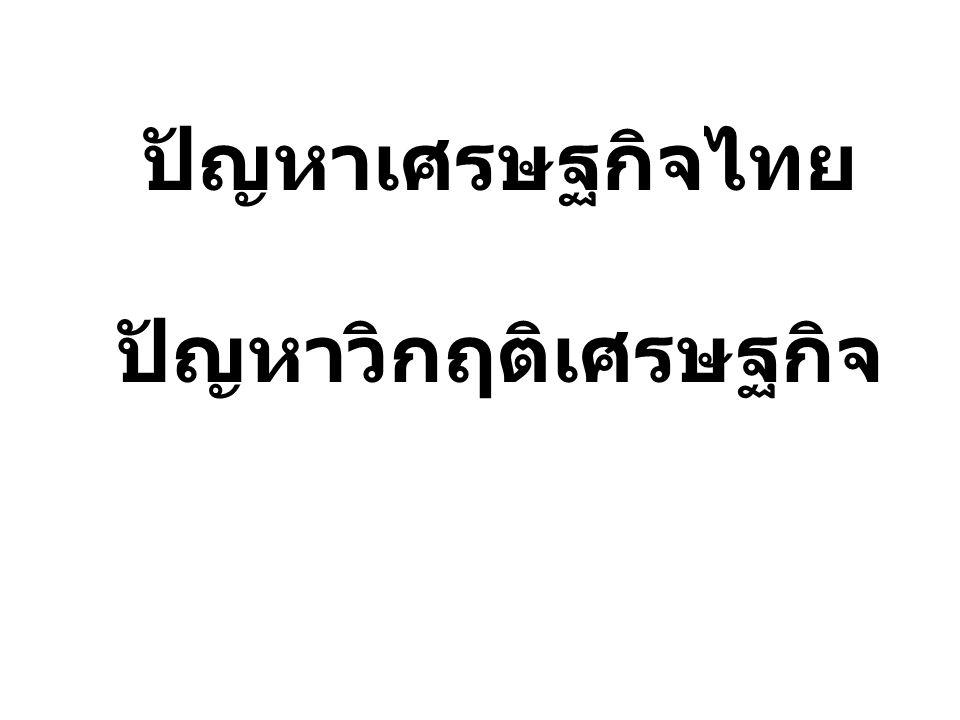 ปัญหาเศรษฐกิจไทย ปัญหาวิกฤติเศรษฐกิจ