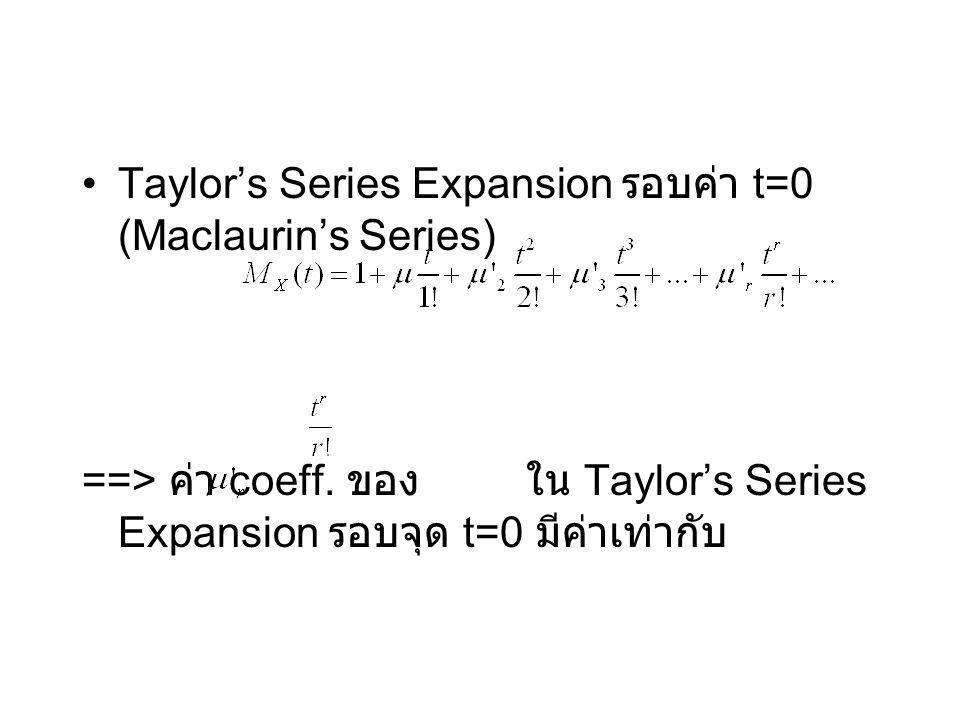 Taylor's Series Expansion รอบค่า t=0 (Maclaurin's Series) ==> ค่า coeff. ของ ใน Taylor's Series Expansion รอบจุด t=0 มีค่าเท่ากับ