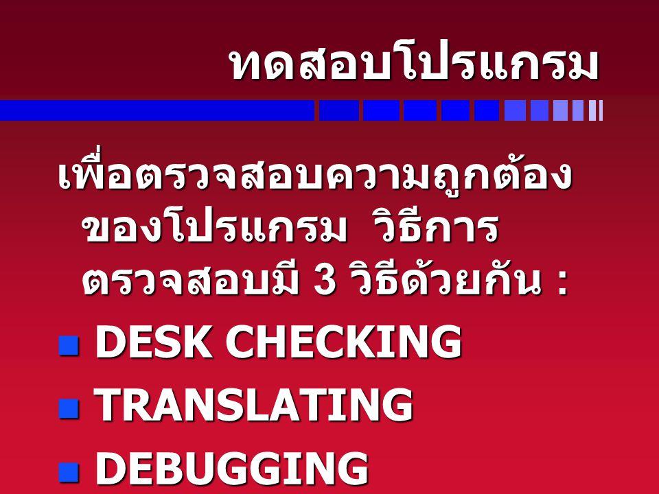 ทดสอบโปรแกรม เพื่อตรวจสอบความถูกต้อง ของโปรแกรม วิธีการ ตรวจสอบมี 3 วิธีด้วยกัน : DESK CHECKING DESK CHECKING TRANSLATING TRANSLATING DEBUGGING DEBUGG