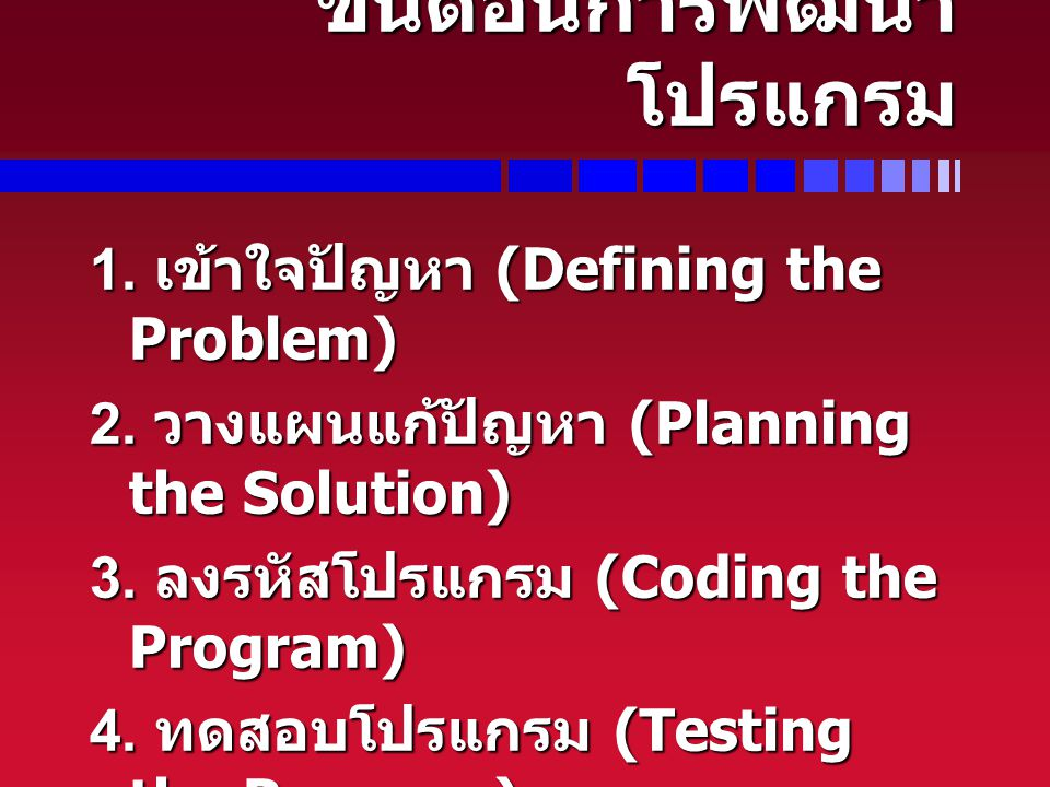ขั้นตอนการพัฒนา โปรแกรม 1. เข้าใจปัญหา (Defining the Problem) 2. วางแผนแก้ปัญหา (Planning the Solution) 3. ลงรหัสโปรแกรม (Coding the Program) 4. ทดสอบ