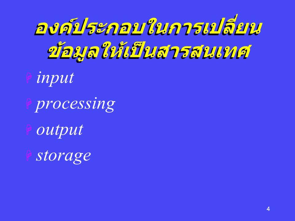 4 องค์ประกอบในการเปลี่ยน ข้อมูลให้เป็นสารสนเทศ H input H processing H output H storage