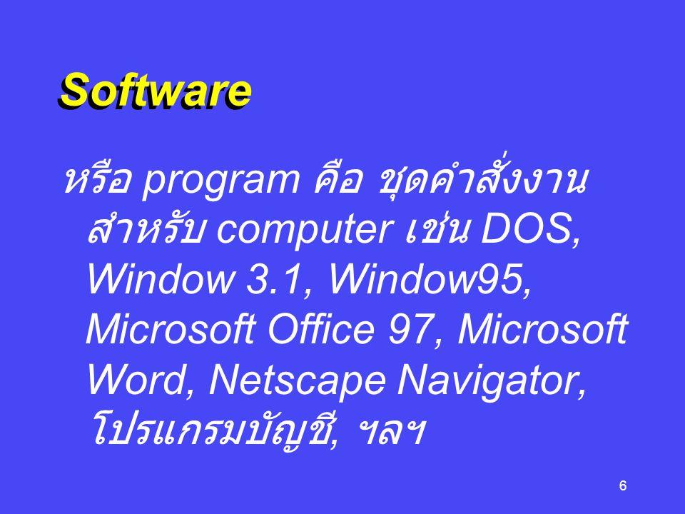 6 Software หรือ program คือ ชุดคำสั่งงาน สำหรับ computer เช่น DOS, Window 3.1, Window95, Microsoft Office 97, Microsoft Word, Netscape Navigator, โปรแ