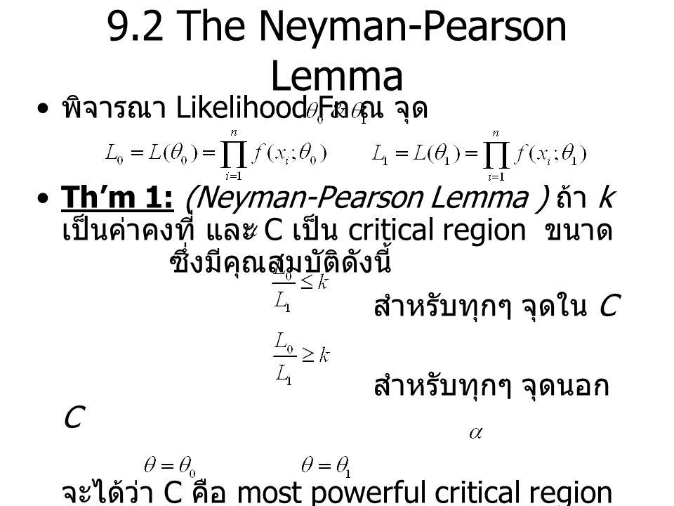 9.2 The Neyman-Pearson Lemma พิจารณา Likelihood Fn ณ จุด Th'm 1: (Neyman-Pearson Lemma ) ถ้า k เป็นค่าคงที่ และ C เป็น critical region ขนาด ซึ่งมีคุณส