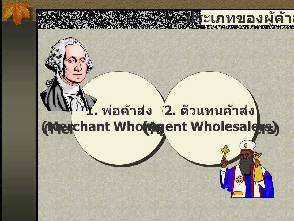 ประเภทของผู้ค้าส่ง 1. พ่อค้าส่ง (Merchant Wholesalers) 1. พ่อค้าส่ง (Merchant Wholesalers) 2. ตัวแทนค้าส่ง (Agent Wholesalers) 2. ตัวแทนค้าส่ง (Agent