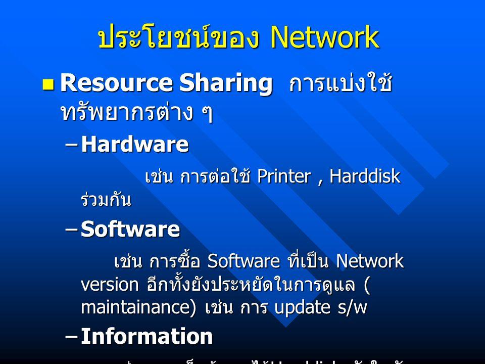 ประโยชน์ของ Network Resource Sharing การแบ่งใช้ ทรัพยากรต่าง ๆ Resource Sharing การแบ่งใช้ ทรัพยากรต่าง ๆ –Hardware เช่น การต่อใช้ Printer, Harddisk ร