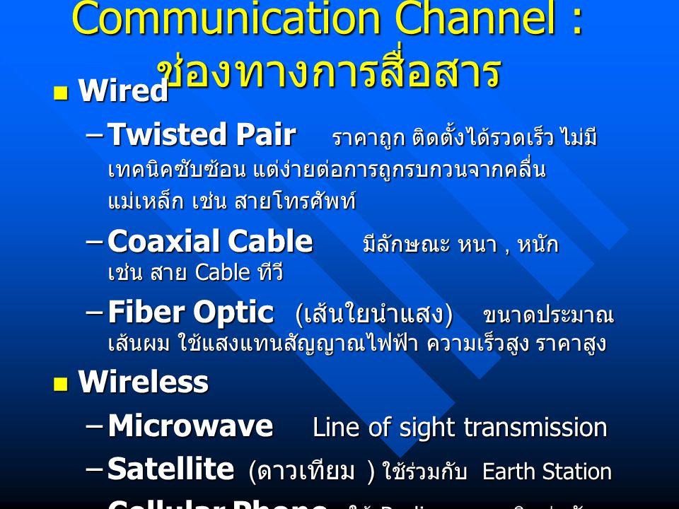 Communication Channel : ช่องทางการสื่อสาร Wired Wired –Twisted Pair ราคาถูก ติดตั้งได้รวดเร็ว ไม่มี เทคนิคซับซ้อน แต่ง่ายต่อการถูกรบกวนจากคลื่น แม่เหล