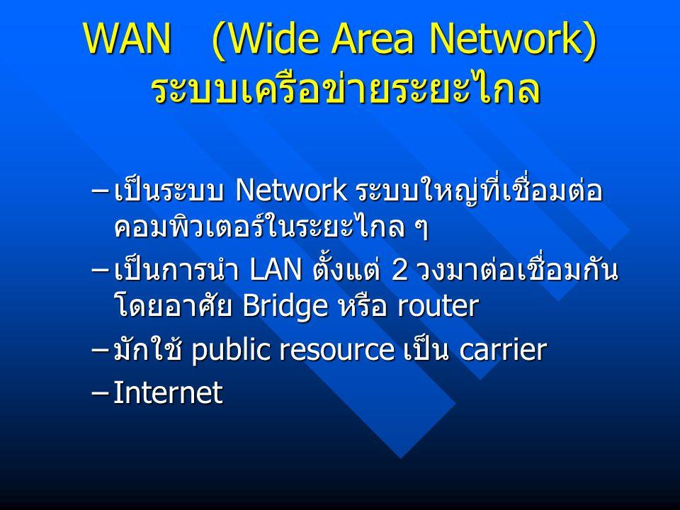 WAN (Wide Area Network) ระบบเครือข่ายระยะไกล – เป็นระบบ Network ระบบใหญ่ที่เชื่อมต่อ คอมพิวเตอร์ในระยะไกล ๆ – เป็นการนำ LAN ตั้งแต่ 2 วงมาต่อเชื่อมกัน