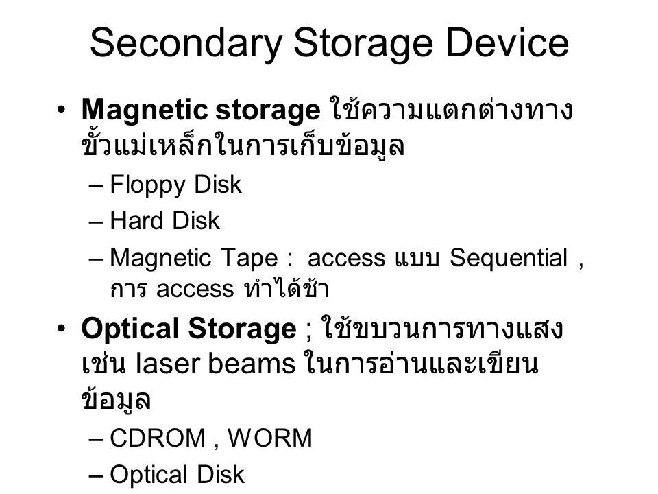 Secondary Storage Device Magnetic storage ใช้ความแตกต่างทาง ขั้วแม่เหล็กในการเก็บข้อมูล –Floppy Disk –Hard Disk –Magnetic Tape : access แบบ Sequential
