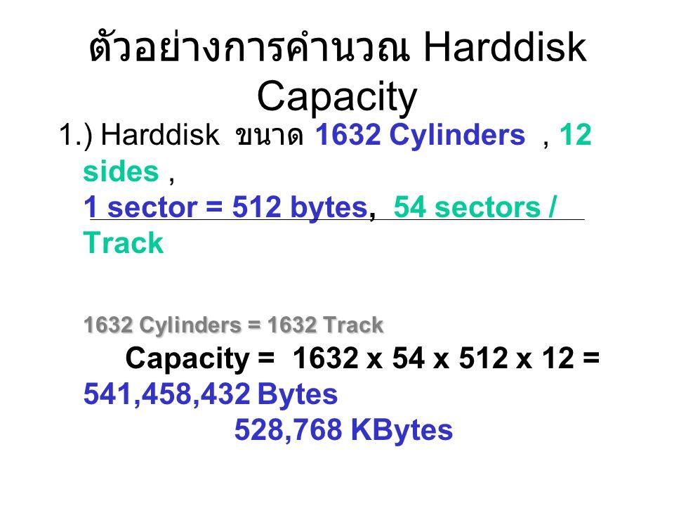 ตัวอย่างการคำนวณ Harddisk Capacity 1.) Harddisk ขนาด 1632 Cylinders, 12 sides, 1 sector = 512 bytes, 54 sectors / Track 1632 Cylinders = 1632 Track 16