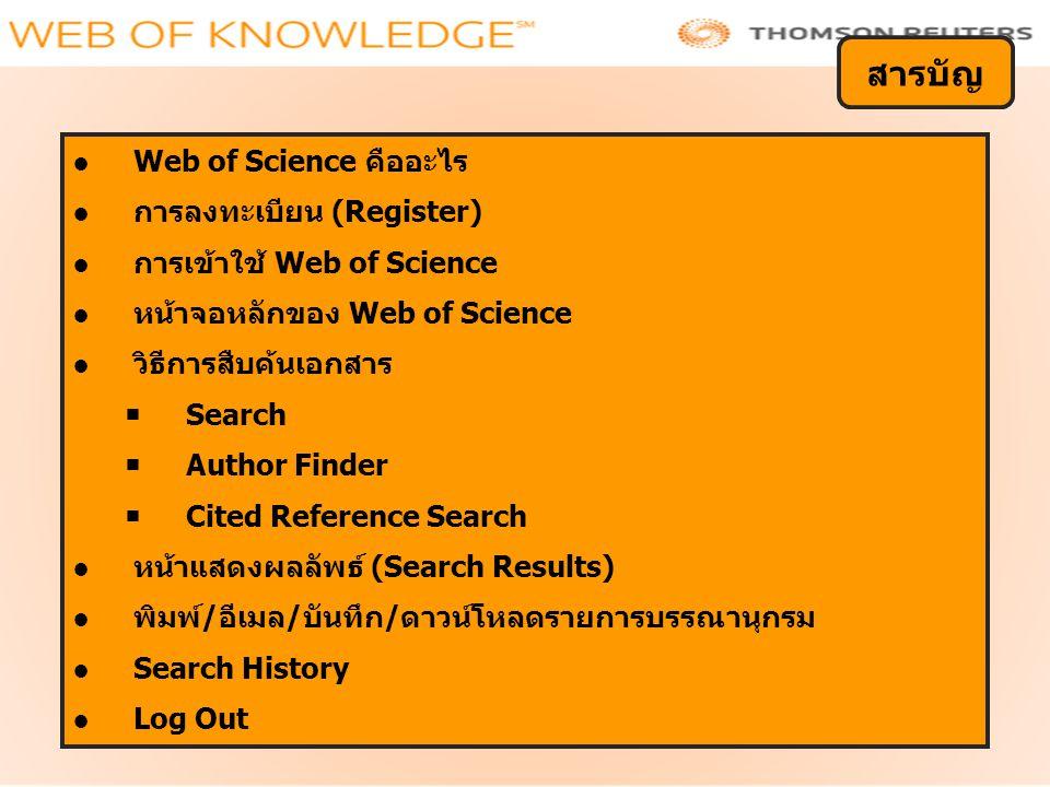 ●Web of Science คืออะไร ●การลงทะเบียน (Register) ●การเข้าใช้ Web of Science ●หน้าจอหลักของ Web of Science ●วิธีการสืบค้นเอกสาร  Search  Author Finde