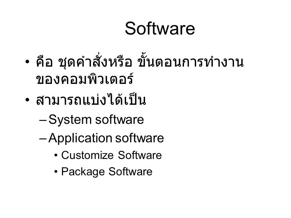 Software คือ ชุดคำสั่งหรือ ขั้นตอนการทำงาน ของคอมพิวเตอร์ สามารถแบ่งได้เป็น –System software –Application software Customize Software Package Software