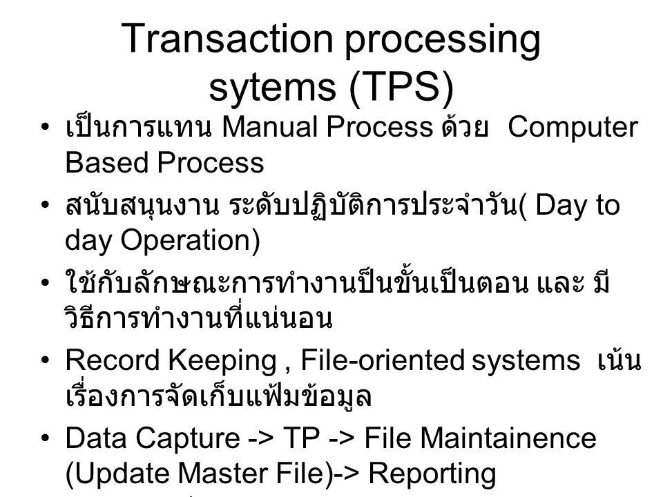 Transaction processing sytems (TPS) เป็นการแทน Manual Process ด้วย Computer Based Process สนับสนุนงาน ระดับปฏิบัติการประจำวัน ( Day to day Operation)