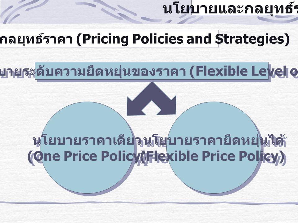 นโยบายและกลยุทธ์ราคา 1. นโยบายระดับความยืดหยุ่นของราคา (Flexible Level of Price) นโยบายราคาเดียว (One Price Policy) นโยบายราคาเดียว (One Price Policy)