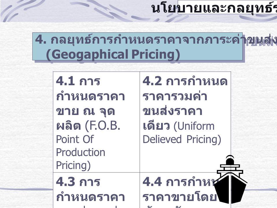 นโยบายและกลยุทธ์ราคา 4. กลยุทธ์การกำหนดราคาจากภาระค่าขนส่งตามภูมิศาสตร์ (Geogaphical Pricing) 4. กลยุทธ์การกำหนดราคาจากภาระค่าขนส่งตามภูมิศาสตร์ (Geog