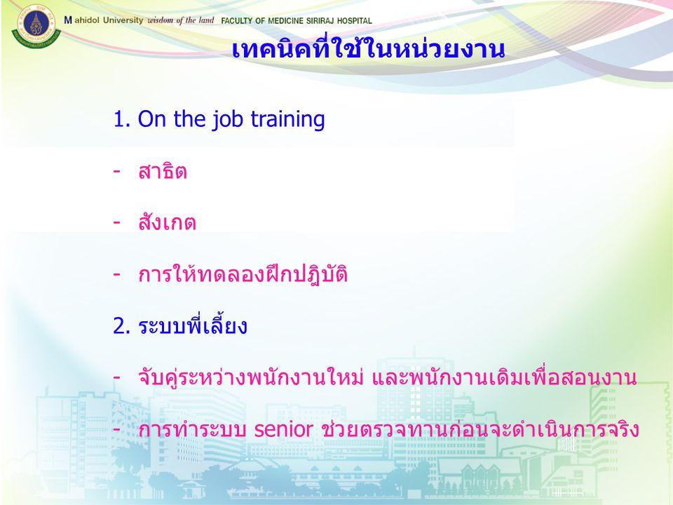 1.On the job training -สาธิต -สังเกต -การให้ทดลองฝึกปฎิบัติ 2. ระบบพี่เลี้ยง -จับคู่ระหว่างพนักงานใหม่ และพนักงานเดิมเพื่อสอนงาน -การทำระบบ senior ช่ว