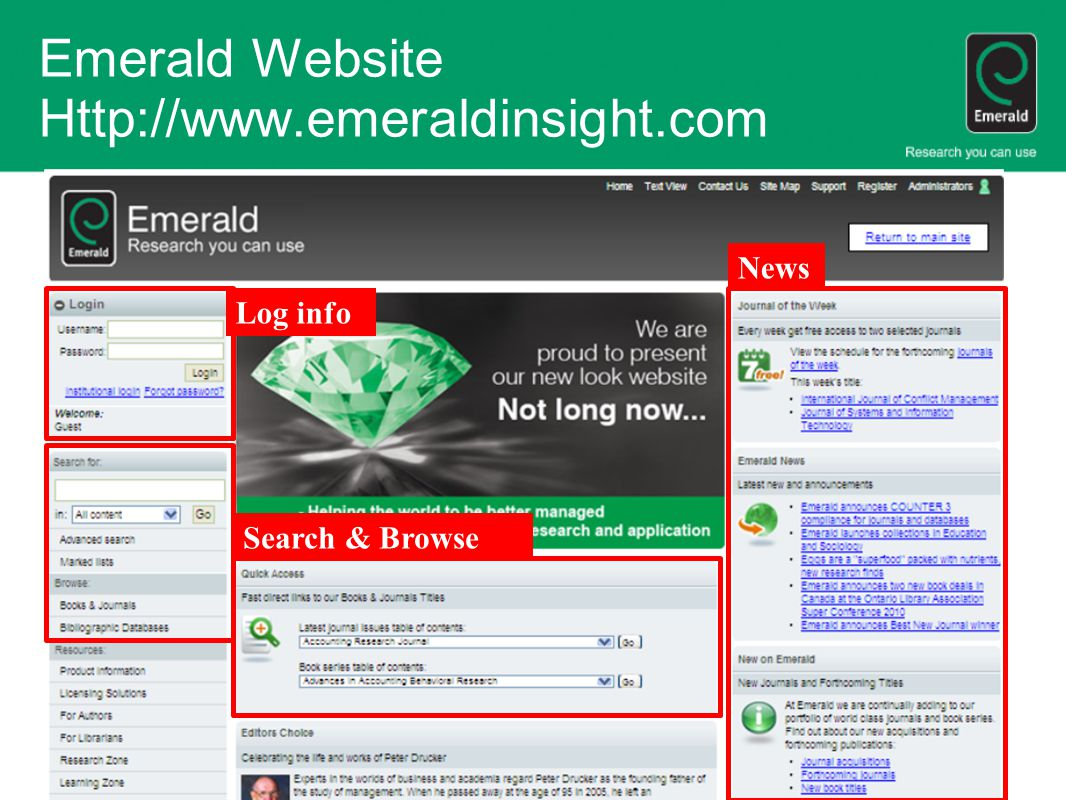 Emerald Website Http://www.emeraldinsight.com News Log info Search & Browse
