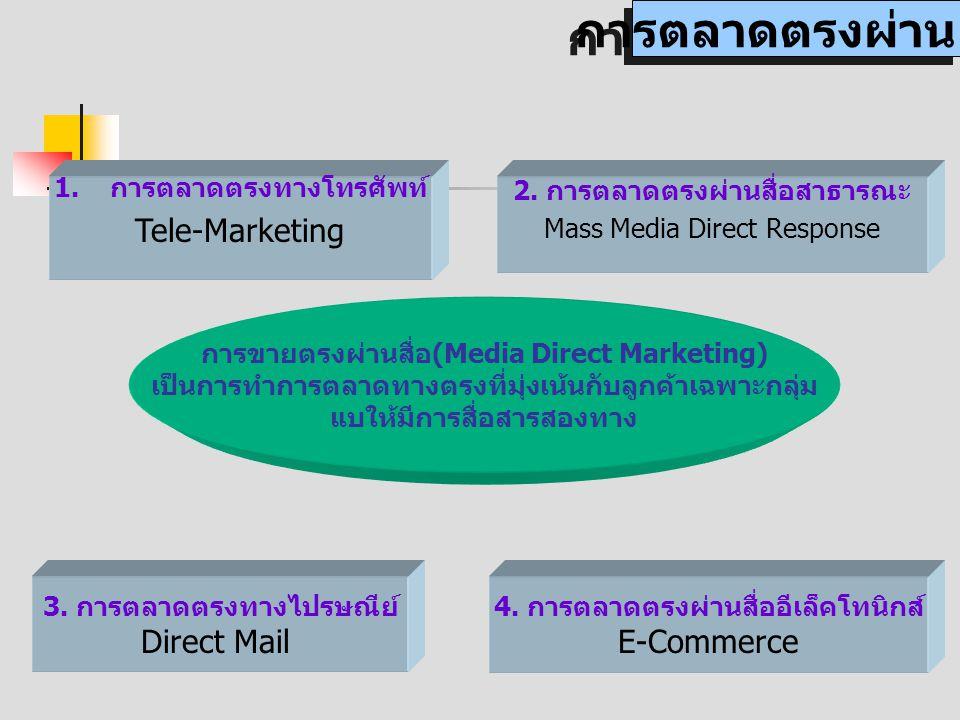 การตลาดตรงผ่านสื่อ การขายตรงผ่านสื่อ(Media Direct Marketing) เป็นการทำการตลาดทางตรงที่มุ่งเน้นกับลูกค้าเฉพาะกลุ่ม แบให้มีการสื่อสารสองทาง 1.การตลาดตรงทางโทรศัพท์ Tele-Marketing 2.