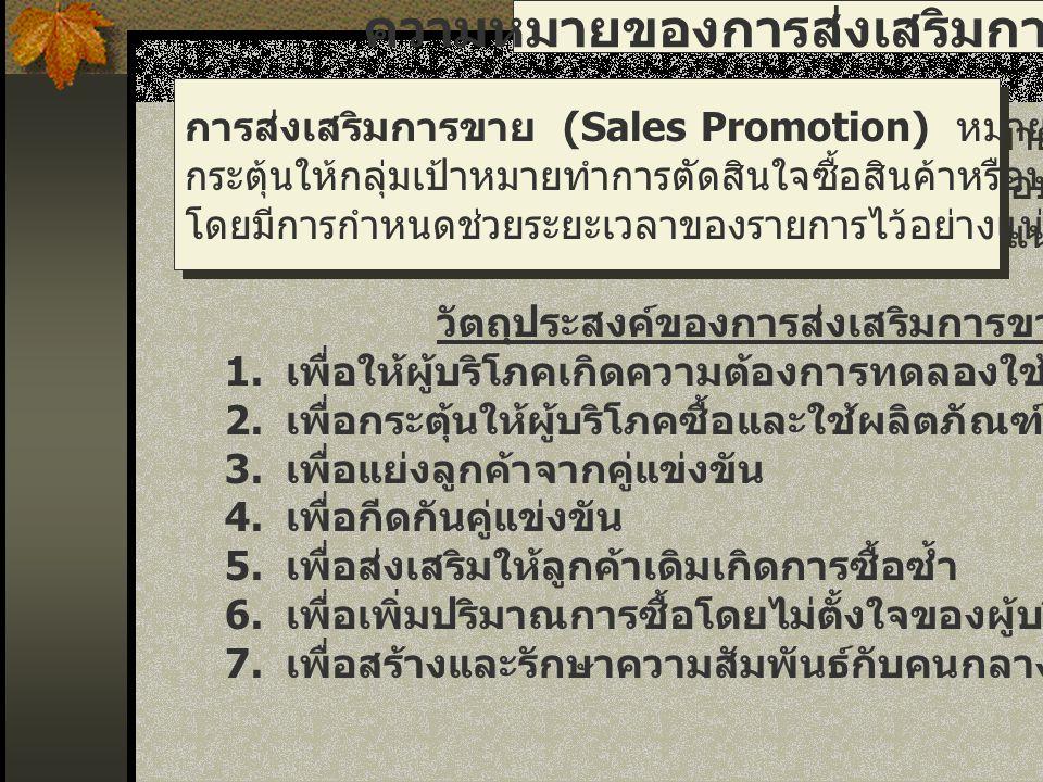การส่งเสริมการขาย 10.สะสมคะแนน (Continuity Program) 9.