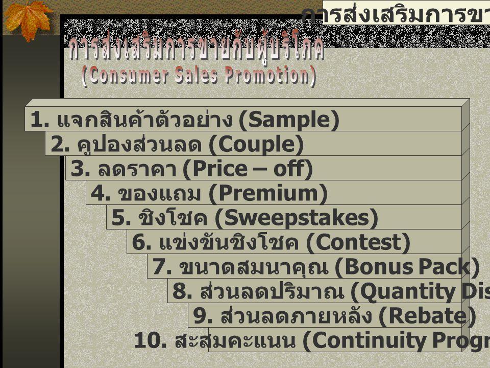 การส่งเสริมการขาย 11.ส่วนลดภายหลัง (Rebate) 10. จัดรายการร่วม (Co-Promotion) 9.