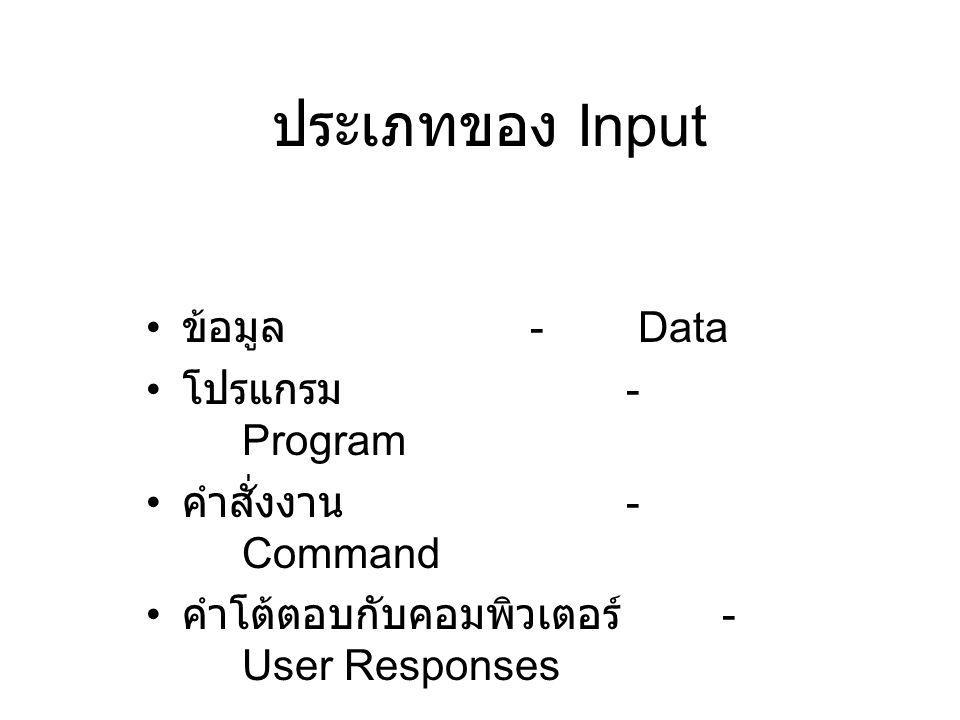 ประเภทของ Input ข้อมูล - Data โปรแกรม - Program คำสั่งงาน - Command คำโต้ตอบกับคอมพิวเตอร์ - User Responses