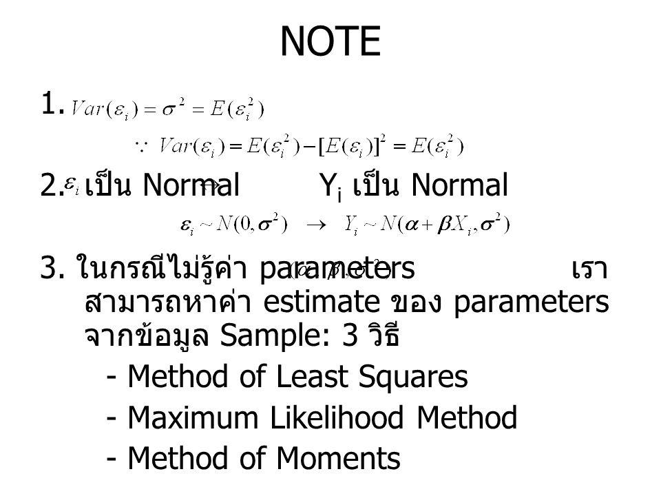 NOTE 1. 2. เป็น Normal Y i เป็น Normal 3. ในกรณีไม่รู้ค่า parameters เรา สามารถหาค่า estimate ของ parameters จากข้อมูล Sample: 3 วิธี - Method of Leas