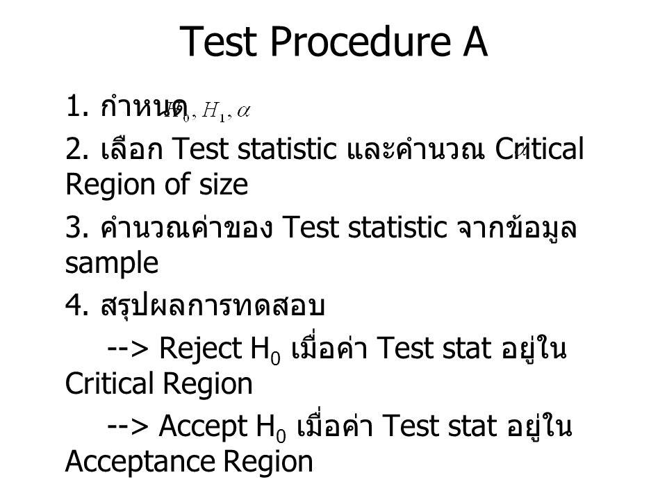 Test Procedure A 1. กำหนด 2. เลือก Test statistic และคำนวณ Critical Region of size 3. คำนวณค่าของ Test statistic จากข้อมูล sample 4. สรุปผลการทดสอบ --