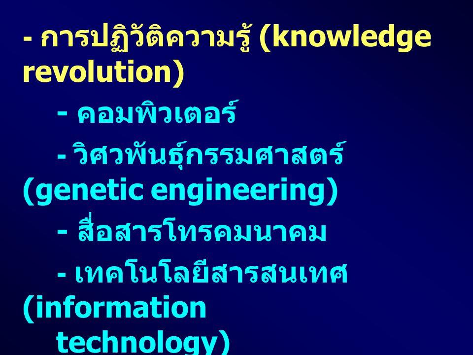 - การปฏิวัติความรู้ (knowledge revolution) - คอมพิวเตอร์ - วิศวพันธุ์กรรมศาสตร์ (genetic engineering) - สื่อสารโทรคมนาคม - เทคโนโลยีสารสนเทศ (information technology) - วิทยาศาสตร์การย่อส่วน (nanotechnology) - ความก้าวหน้าของความรู้ทาง การแพทย์