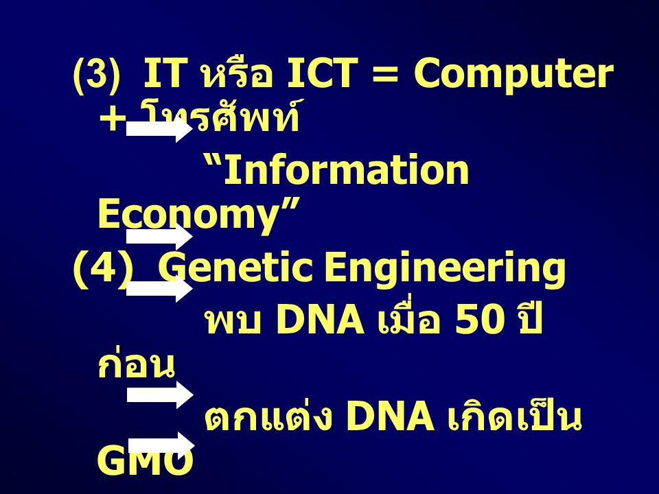 "(3) IT หรือ ICT = Computer + โทรศัพท์ ""Information Economy"" (4) Genetic Engineering พบ DNA เมื่อ 50 ปี ก่อน ตกแต่ง DNA เกิดเป็น GMO (Genetically Modif"