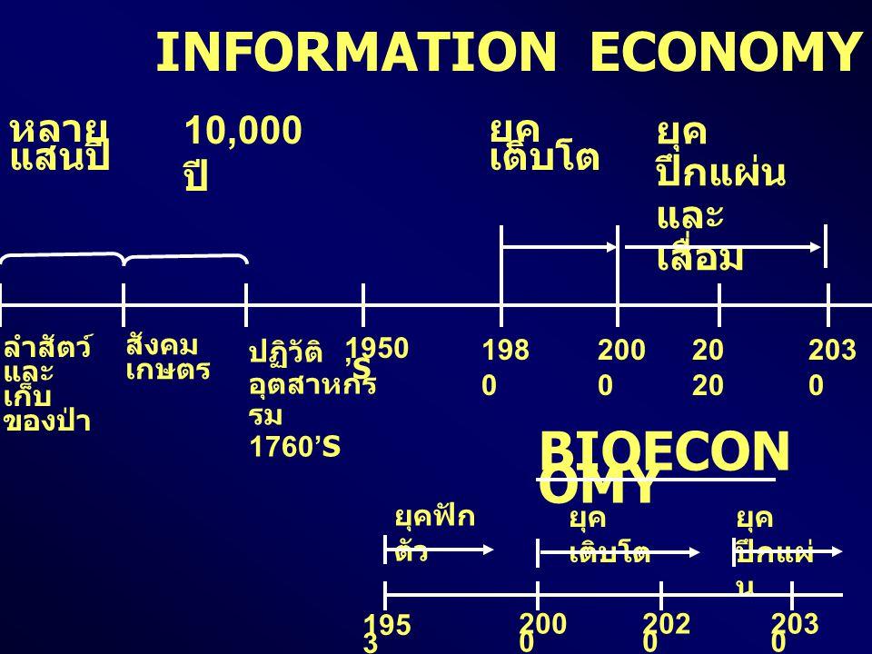 INFORMATION ECONOMY หลาย แสนปี 10,000 ปี ยุค เติบโต ยุค ปึกแผ่น และ เสื่อม ลำสัตว์ และ เก็บ ของป่า สังคม เกษตร ปฏิวัติ อุตสาหกร รม 1760'S 1950 'S 198 0 200 020 203 0 BIOECON OMY ยุคฟัก ตัว ยุค เติบโต ยุค ปึกแผ่ น 195 3 203 0 202 0 200 0