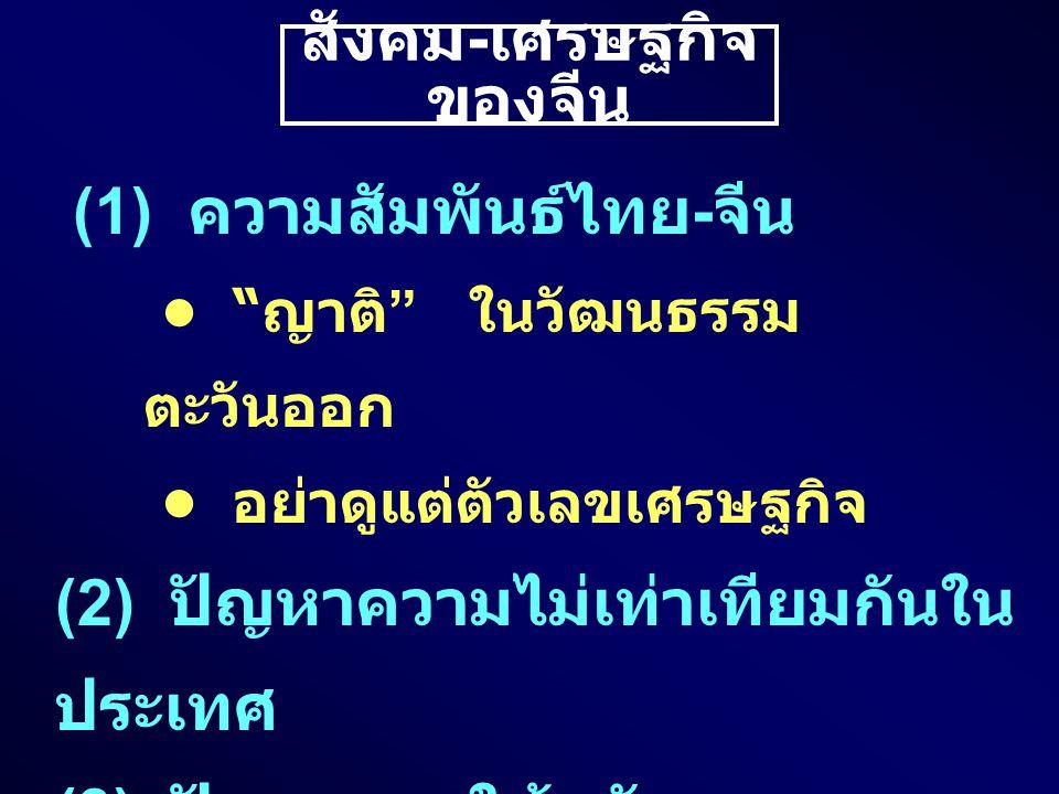 สังคม - เศรษฐกิจ ของจีน (1) ความสัมพันธ์ไทย - จีน ญาติ ในวัฒนธรรม ตะวันออก อย่าดูแต่ตัวเลขเศรษฐกิจ (2) ปัญหาความไม่เท่าเทียมกันใน ประเทศ (3) ปัญหาการใช้พลังงาน (4) ปัญหาสิ่งแวดล้อม