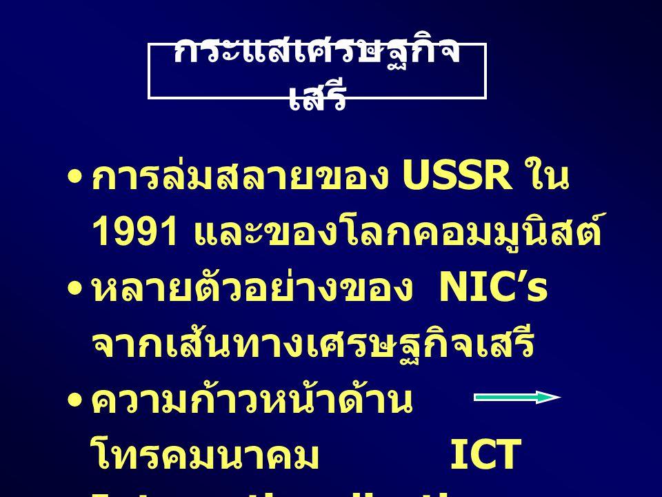 กระแสเศรษฐกิจ เสรี การล่มสลายของ USSR ใน 1991 และของโลกคอมมูนิสต์ หลายตัวอย่างของ NIC's จากเส้นทางเศรษฐกิจเสรี ความก้าวหน้าด้าน โทรคมนาคม ICT Internationalization ของ Financial System
