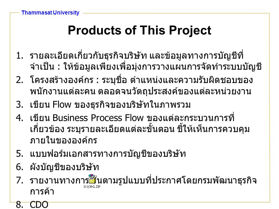 Thammasat University Products of This Project 1.