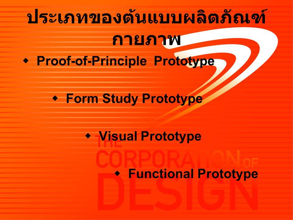 ประเภทของต้นแบบผลิตภัณฑ์ กายภาพ  Proof-of-Principle Prototype  Form Study Prototype  Visual Prototype  Functional Prototype