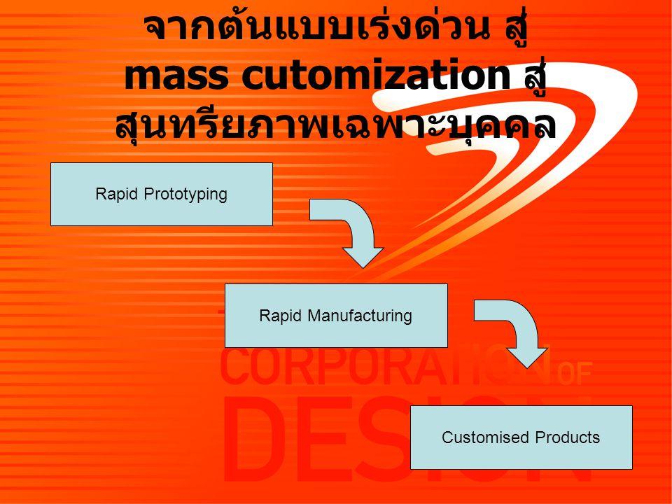 Rapid Prototyping Rapid Manufacturing Customised Products จากต้นแบบเร่งด่วน สู่ mass cutomization สู่ สุนทรียภาพเฉพาะบุคคล