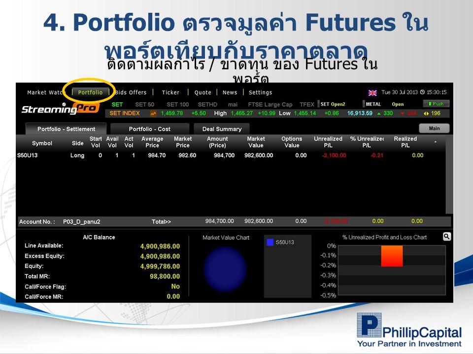 4. Portfolio ตรวจมูลค่า Futures ใน พอร์ตเทียบกับราคาตลาด ติดตามผลกำไร / ขาดทุน ของ Futures ใน พอร์ต