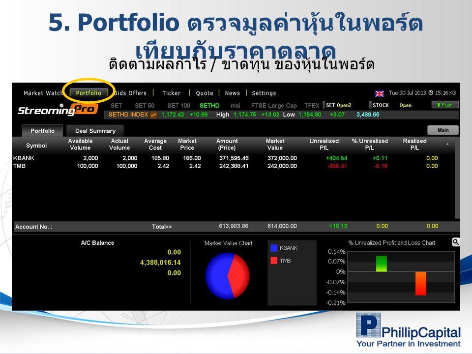 5. Portfolio ตรวจมูลค่าหุ้นในพอร์ต เทียบกับราคาตลาด ติดตามผลกำไร / ขาดทุน ของหุ้นในพอร์ต