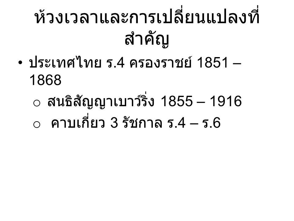 ห้วงเวลาและการเปลี่ยนแปลงที่ สำคัญ ประเทศไทย ร.4 ครองราชย์ 1851 – 1868 o สนธิสัญญาเบาว์ริ่ง 1855 – 1916 o คาบเกี่ยว 3 รัชกาล ร.4 – ร.6