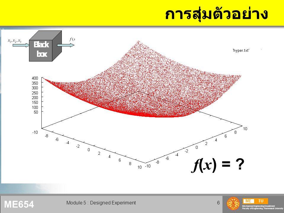 METU Mechanical Engineering Department Faculty of Engineering, Thammasat University ME654 Module 5 : Designed Experiment7 รูปแบบของฟังก์ชั่น p > m