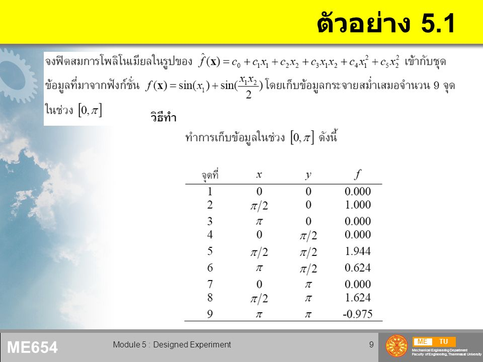 METU Mechanical Engineering Department Faculty of Engineering, Thammasat University ME654 Module 5 : Designed Experiment10 ตัวอย่าง 5.1 (2)