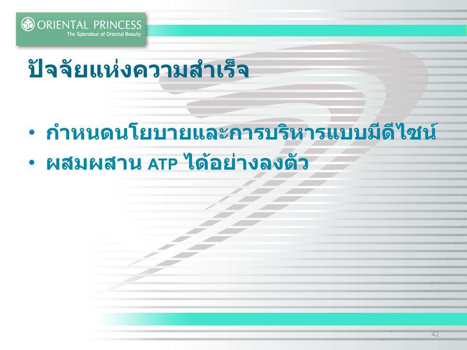 ปัจจัยแห่งความสำเร็จ กำหนดนโยบายและการบริหารแบบมีดีไซน์ ผสมผสาน ATP ได้อย่างลงตัว 42