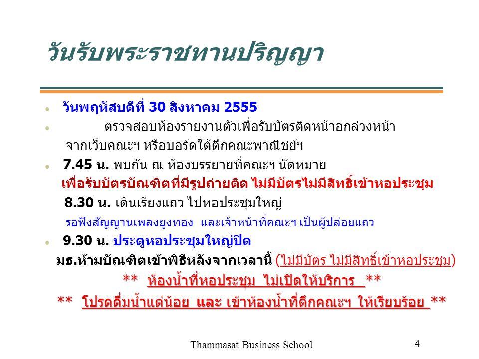 Thammasat Business School 5 การแต่งกาย รองเท้าหุ้มส้นสีดำเรียบ ไม่เปิดหัวหรือท้าย (ห้ามเป็นรองเท้า กำมะหยี่) บัณฑิตหญิงต้องสวมถุงน่องสีเนื้อ ทรงผมถูกต้องตามเพศ เปิดหน้าด้านซ้าย ห้ามทำสีผม ไม่มีเครื่องประดับแวววาว กิ๊บติดผมเฉพาะตัวเล็กสีดำ ห้ามติดขนตาปลอม และห้ามใส่บิ๊กอาย ไม่สวมเครื่องประดับ เช่น สร้อย ตุ้มหู กำไร ฯลฯ ห้ามนำโทรศัพท์มือถือ กล้องถ่ายรูป และพวงกุญแจที่เป็นโลหะ ทุกชนิดเข้าหอประชุม (ของมีค่าให้ฝากญาติไว้ คณะฯ ไม่รับฝาก ของ)