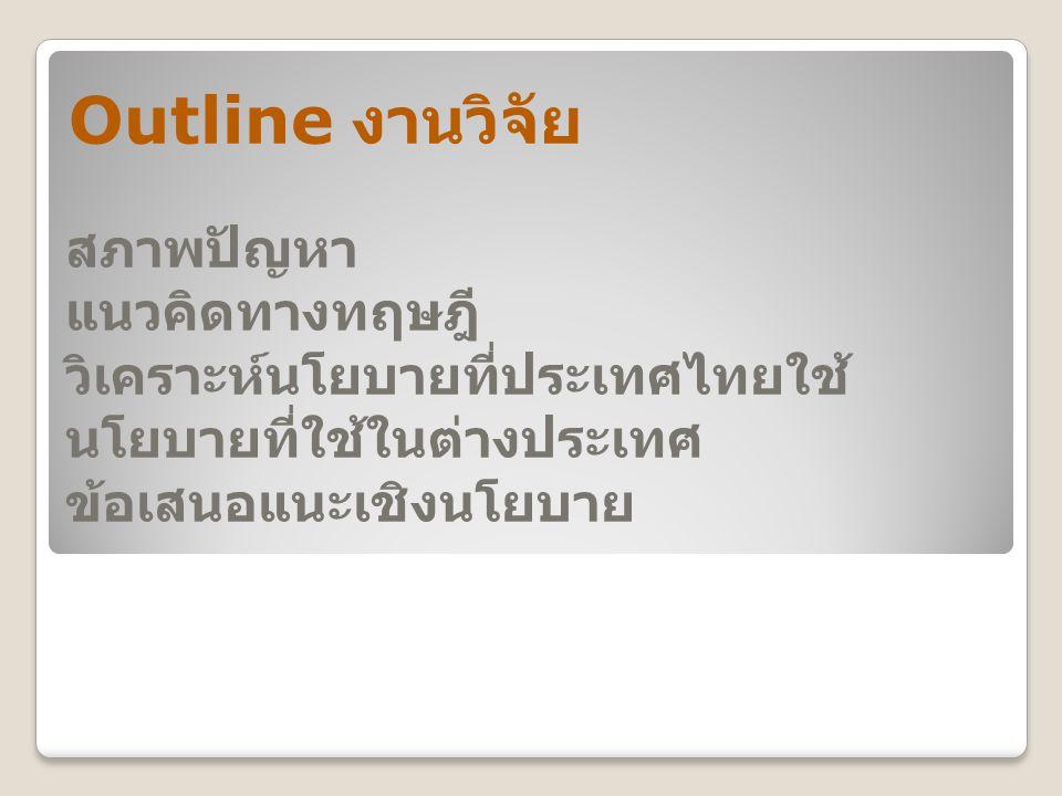 สภาพปัญหา แนวคิดทางทฤษฎี วิเคราะห์นโยบายที่ประเทศไทยใช้ นโยบายที่ใช้ในต่างประเทศ ข้อเสนอแนะเชิงนโยบาย Outline งานวิจัย