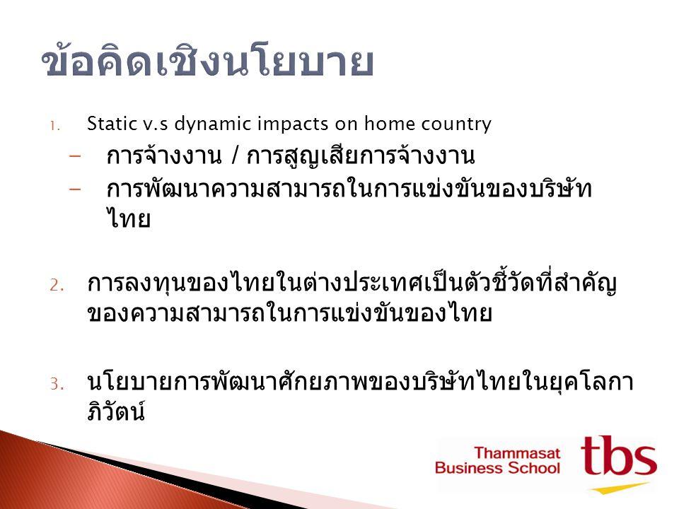 1. Static v.s dynamic impacts on home country - การจ้างงาน / การสูญเสียการจ้างงาน - การพัฒนาความสามารถในการแข่งขันของบริษัท ไทย 2. การลงทุนของไทยในต่า